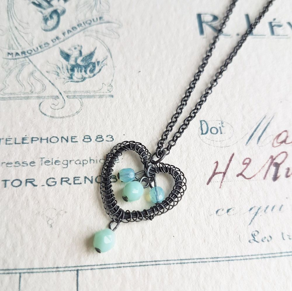 Petite Heart Pendant in Oxidised Silver - More Colours