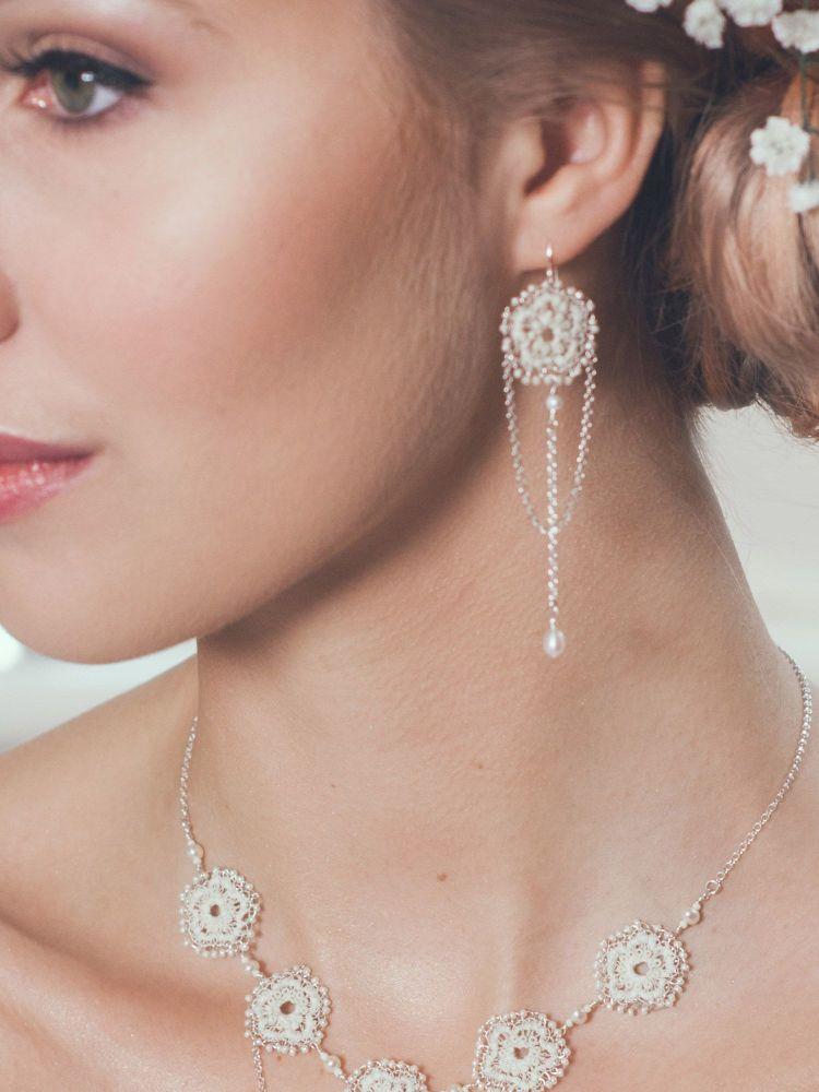 Anemone Lace Chandelier Earrings