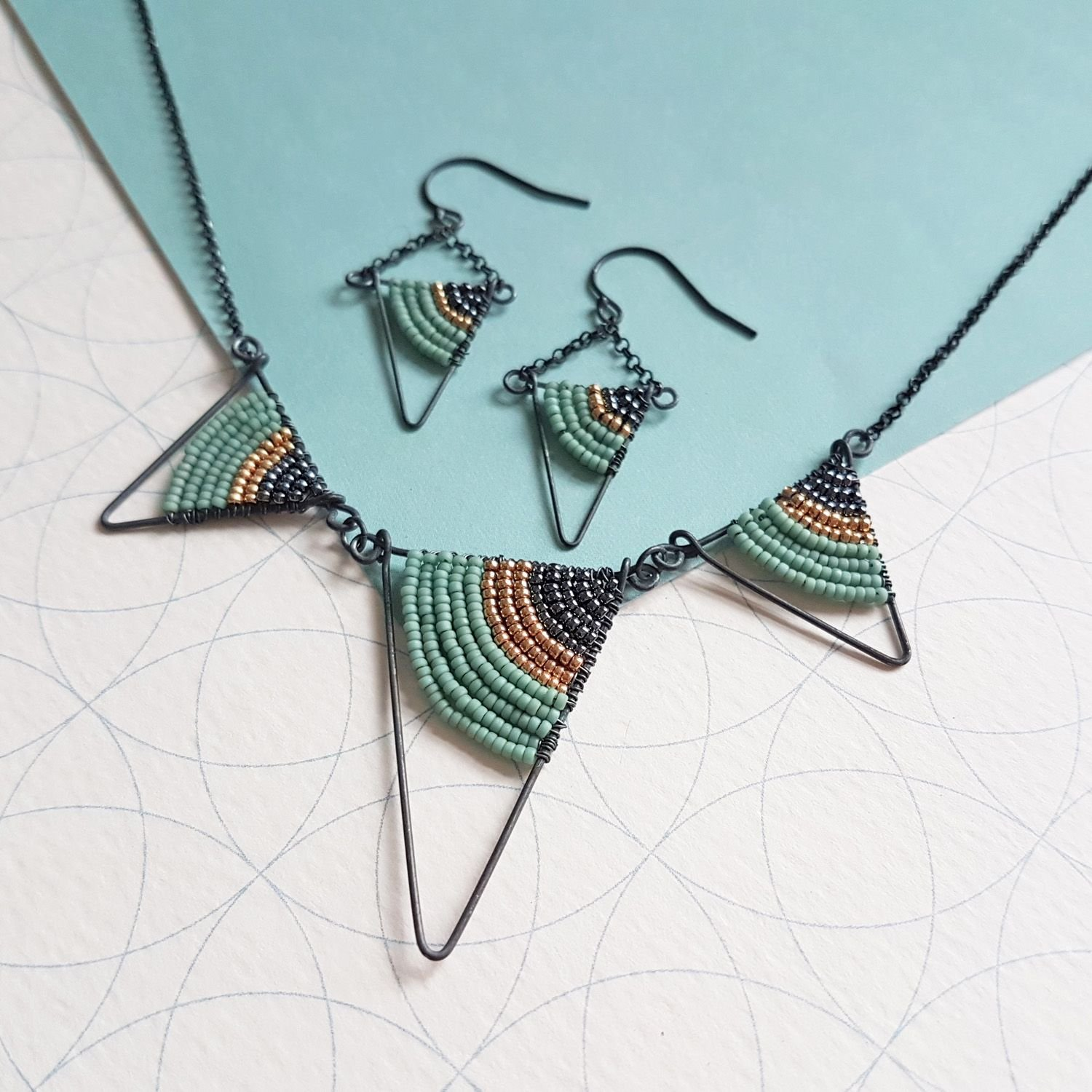 Geometric Necklace and earrings