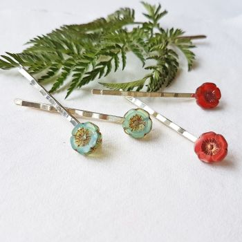 NEW Bohemia Glass Flower Hairclips - More Colours