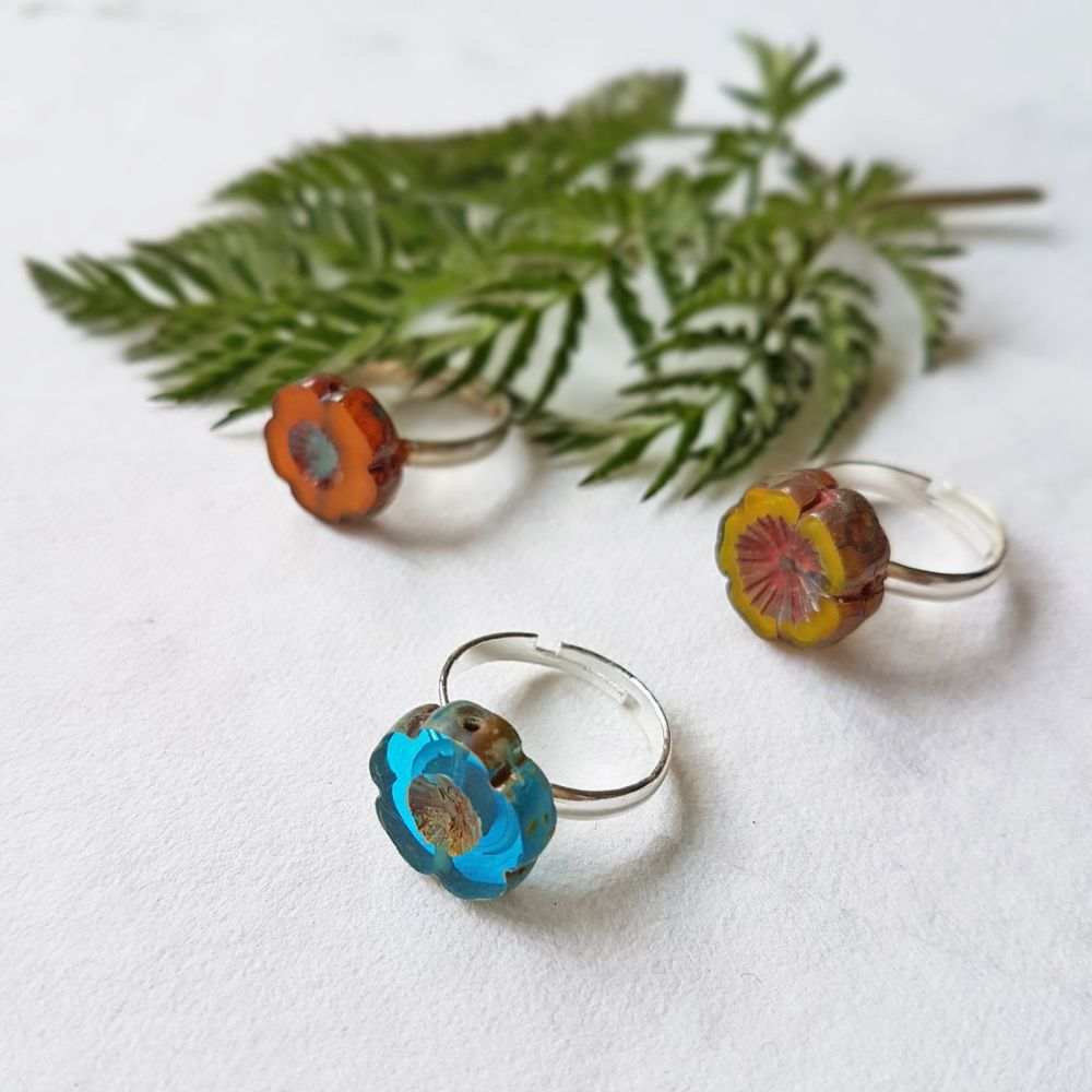 <!-- 001 -->Bohemia Glass Flower Ring - More Colours
