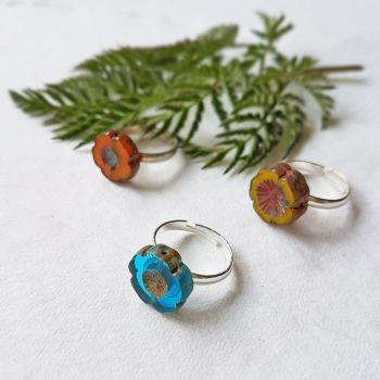 NEW Bohemia Glass Flower Ring - More Colours