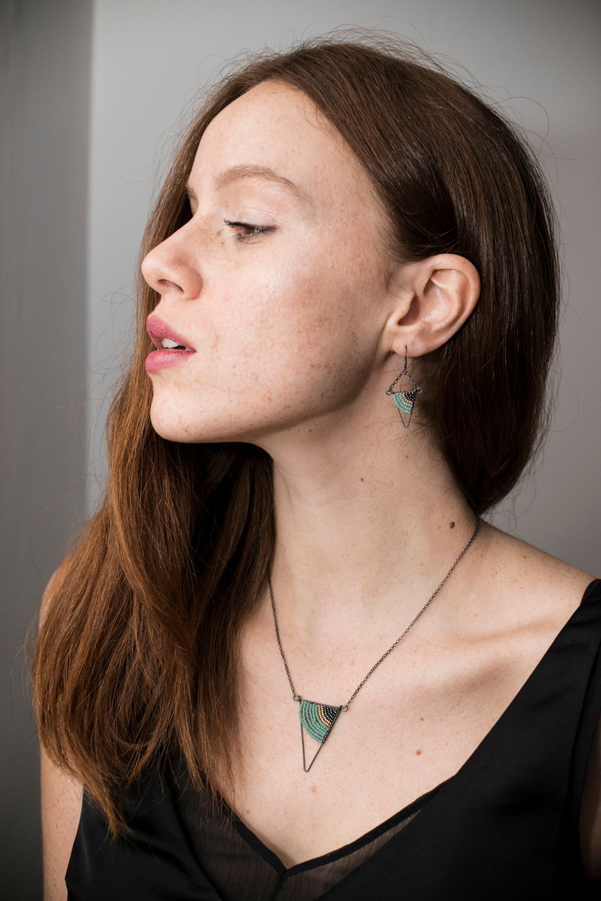 Triagnle necklace by Judith Brown Jewellery