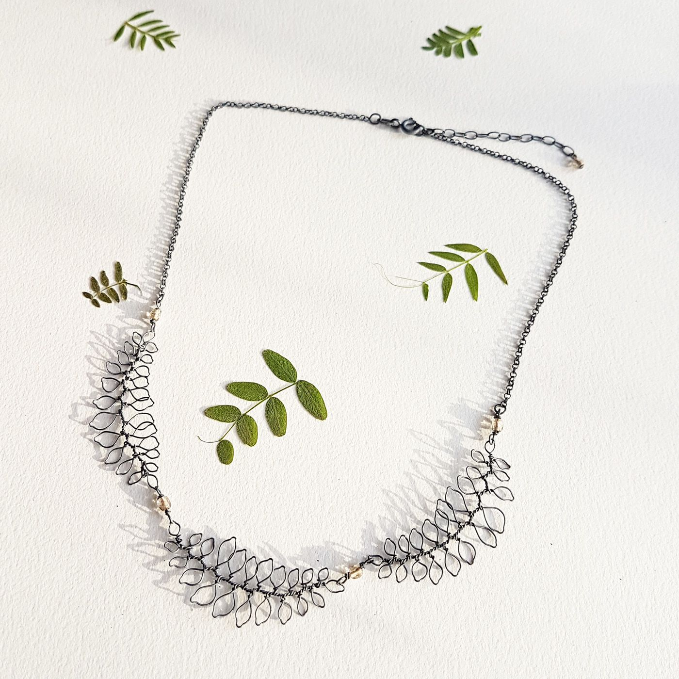 Leaf necklace by Judith Brown Jewellery
