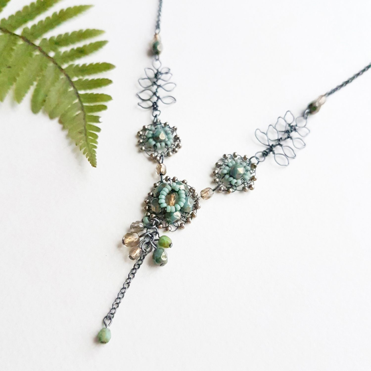 Flower and leaf necklace Judith Brown Jewellery