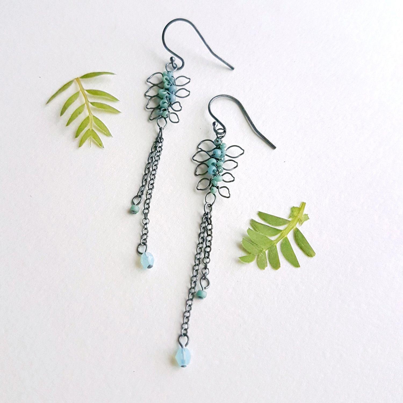 leaf drop earrings by Judith Brown