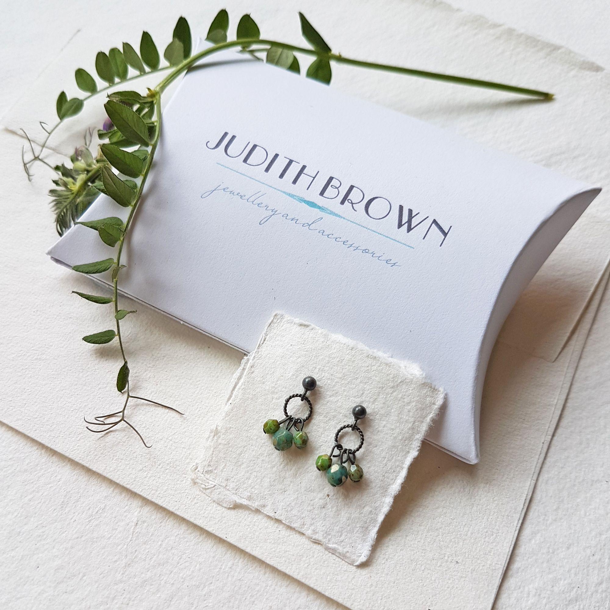Stud earrings in oxidised silver Judith Brown