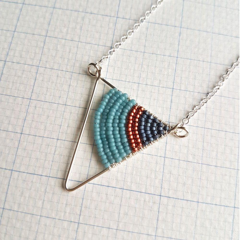 <!-- 004 -->Small Silver Triangle Necklace - More Colours