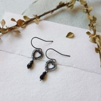Petite Heart Earrings - Black