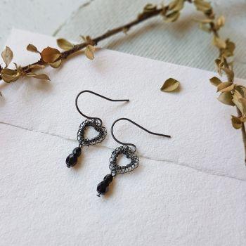 Petite Heart Earrings - Black