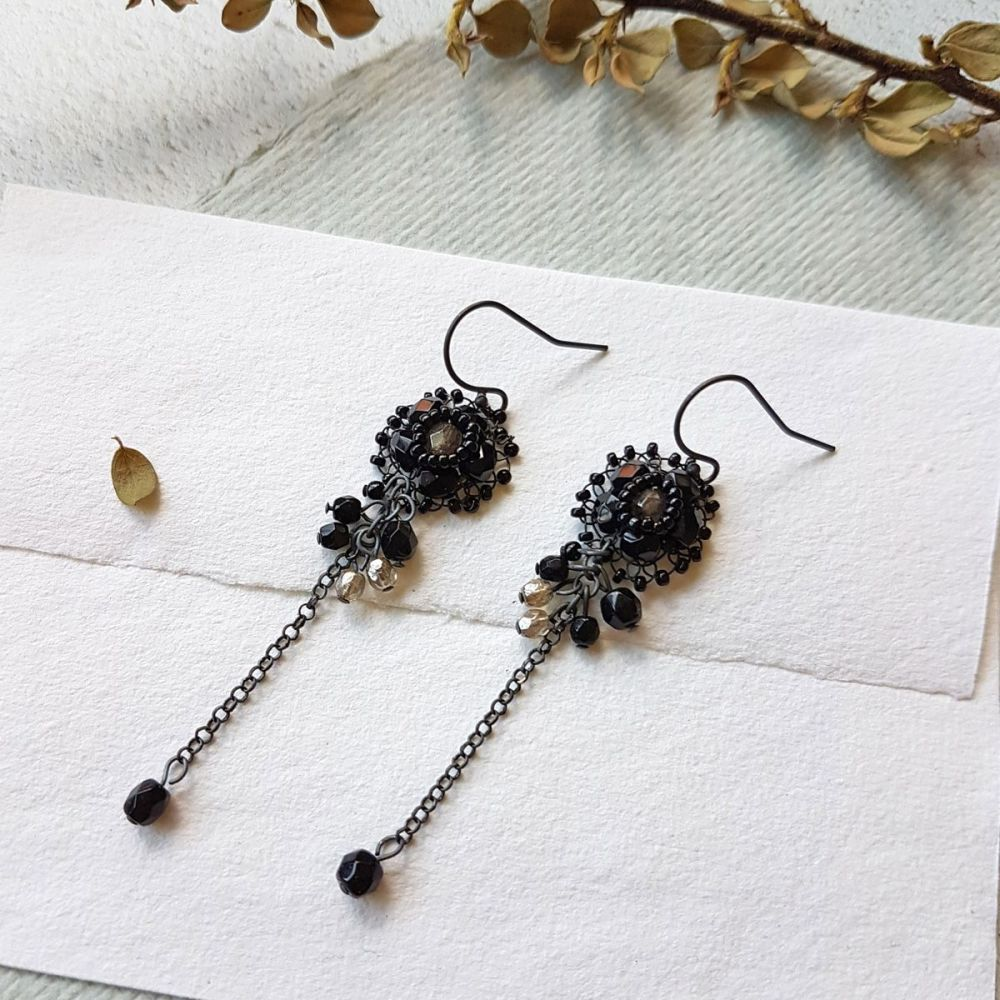 Flower Cluster Earrings - Black