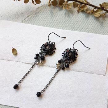 Flower Cluster Earrings - Black