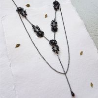 Flower &  Leaf Statement Necklace - Black