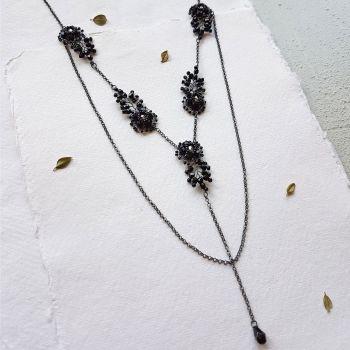 Flower &  Leaf Statement Necklace - Black
