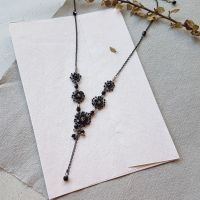 Flower Cluster Statement Necklace - Black