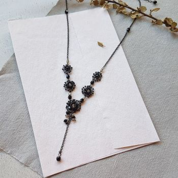 Flower Cluster Statement Necklace - Black