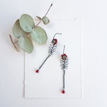 Leaf and Flower Drop Earrings - More Colours