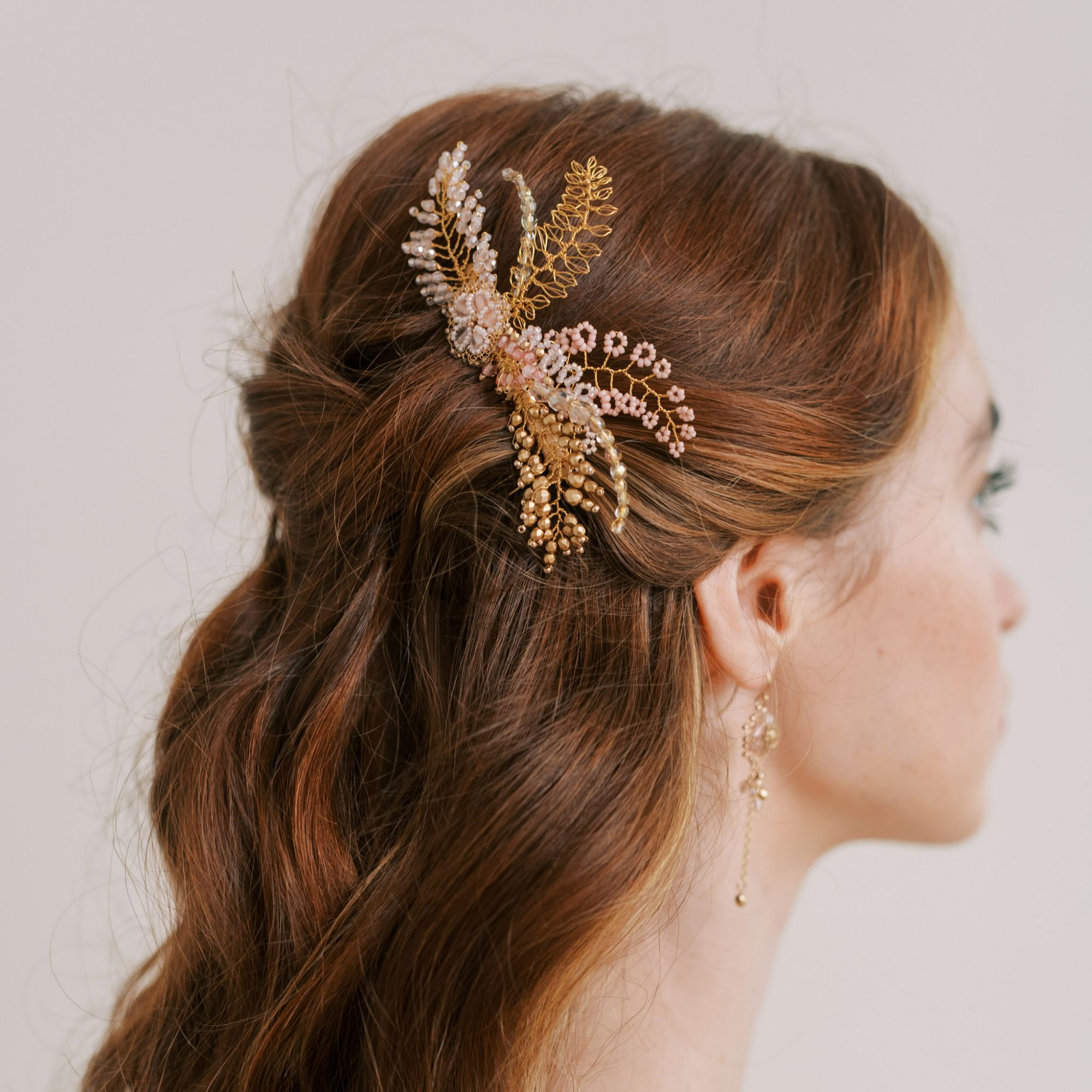 Blusj and gold bridal hair comb by Judith Brown Bridal