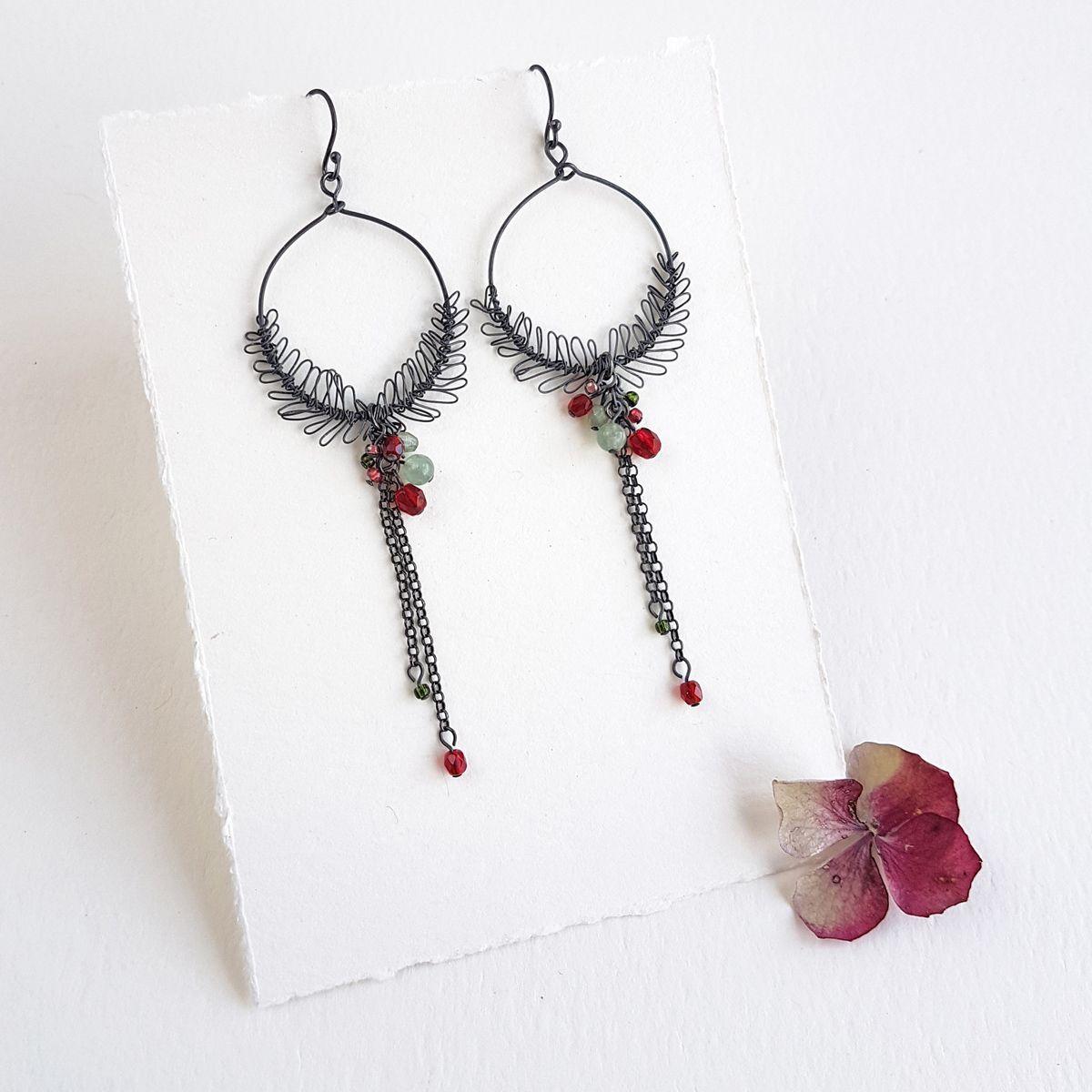 Foliage drop earrings