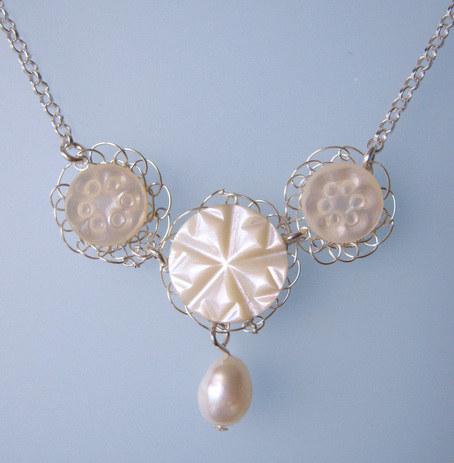 Vintage Petite triple carved button necklace