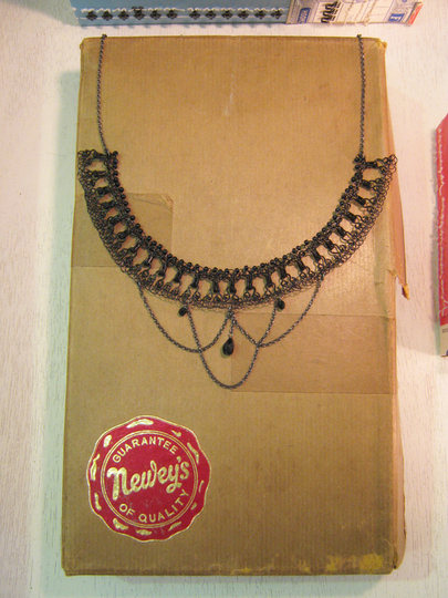 New hook and eye chandelier necklace April 2012