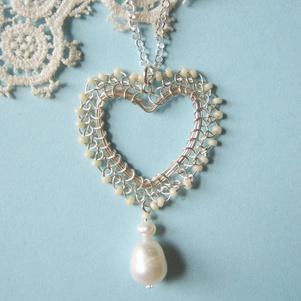 Silver heart pendant pearl drop