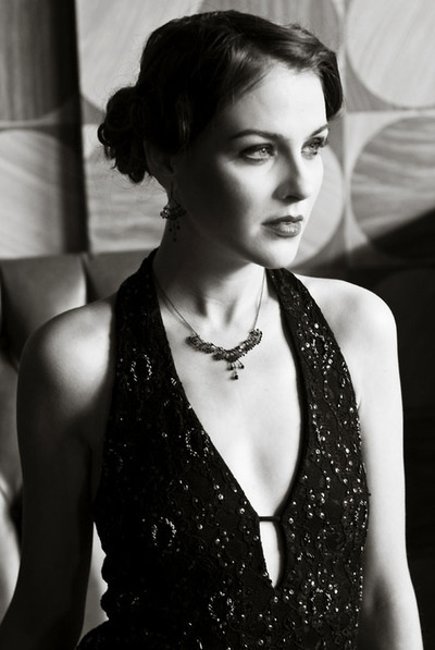 Petite Alessandra necklace black and white image