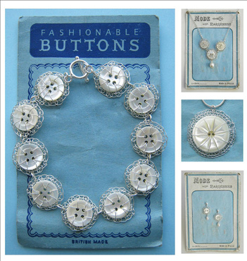 Mother of pearl button jewellery