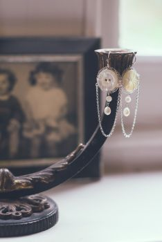 Large Vintage Button Chandelier Earrings
