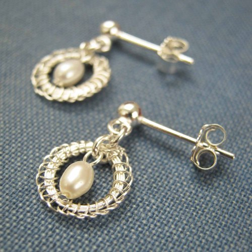 Petite Circlet Silver Studs With Freshwater Pearls