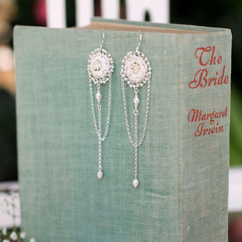 Handmade Anemone Lace Earrings