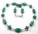 Roman Holiday - alabaster green lampwork beads with rock crystal