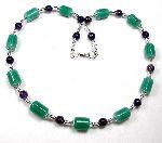 Bellatrix - alabaster green lampwork beads with amethyst and Swarovski crystals