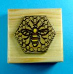 Small pine box with bee and honeycomb motif