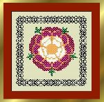 Tudor Tile with blackwork border - Tudor Rose