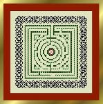 Tudor Tile with blackwork border - Knotwork Garden
