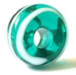 Roman teal glass bead with white trailed spiral from the East Riding of Yorkshire