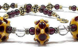 'Aelflaed' - necklace with lampwork beads, garnet and rock crystal - One of
