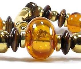 'Lyonesse' - hollow lampwork beads with tigers eye discs - One of a Kind Ne