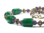 'Theodora' - 'emerald' lampwork beads, amethyst and gilded pewter beads