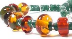 'Allyson' - 'amber' glass lampwork beads with green agate discs