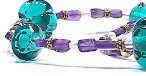 'Semiramis' necklace with teal glass melon beads and amethyst accents