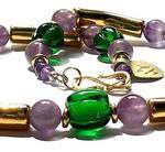 Felicity - emerald green glass melon beads with amethyst and gold-plated ceramic tubes