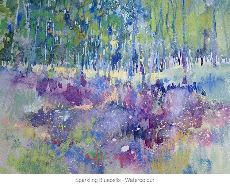 bluebell woods in pastel