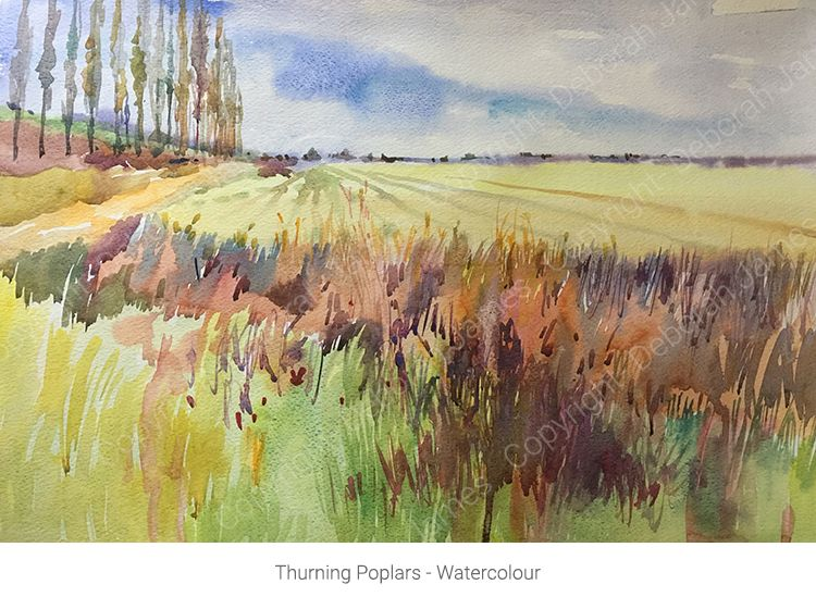 Thurning Poplars - Watercolour