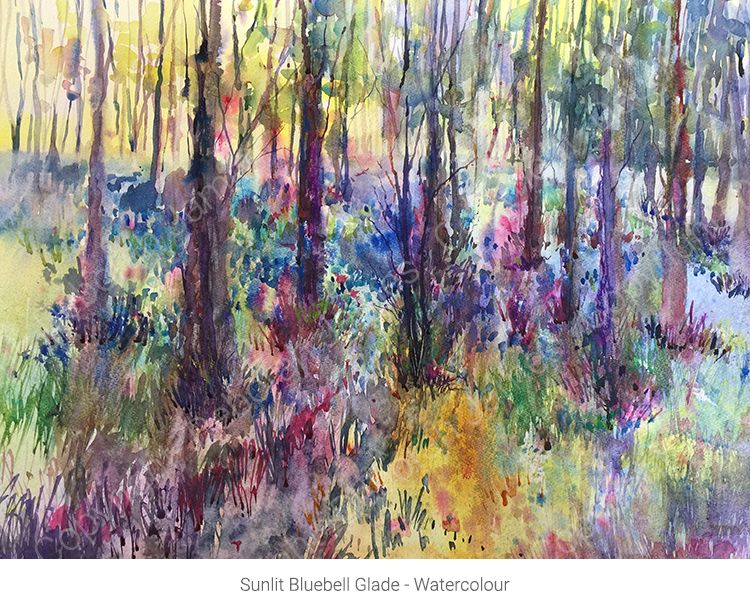 Sunlit Bluebell Glade - Watercolour