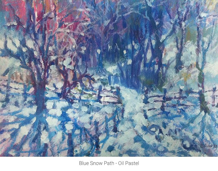 Blue Snow Path - Oil Pastel
