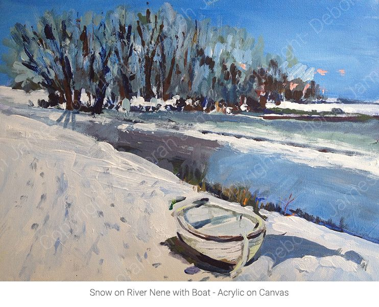Snow on River Nene with Boat - Acrylic on Canvas