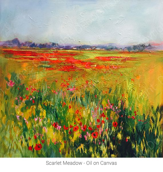 Scarlet Meadow - Oil on Canvas