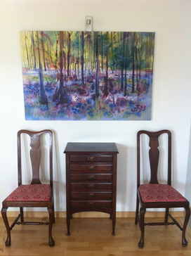 Bluebells CANVAS giclee with furniture